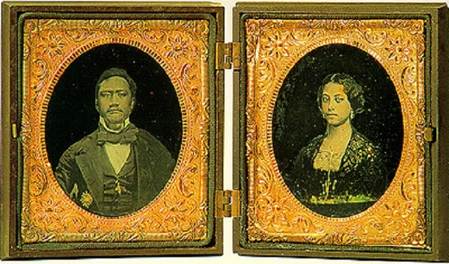 """Despite their royal status, Kamehameha and Emma knew plenty of sorrow, deriving first from Captain Cook's """"discovery"""" of the long-inhabited islands, and the competing interests of businessmen to exploit the people and missionaries to convert them; often they were the same group. The native people were losing control of their culture, and succumbing to disease introduced by foreigners. If Christianity had to come to Hawai'i, the king thought the Church of England was the most compatible in the dignity of its services. Then he and Emma lost their only child at age 4, and Kamehameha died heartbroken a year later at age 30. Emma declined to rule in his place, and instead devoted herself to building schools, hospitals and churches, including St. Andrew's Cathedral in Honolulu. In later years when another royal vacancy occurred, she ran for election to resume her position and won the popular vote, but lost in the legislature; she died at 49, still wearing her Victorian widow's weeds. Today she is remembered with great love; everywhere you turn there is a festival, park, concert or sporting event dedicated to her memory. (Wikipedia, photographer unknown)"""