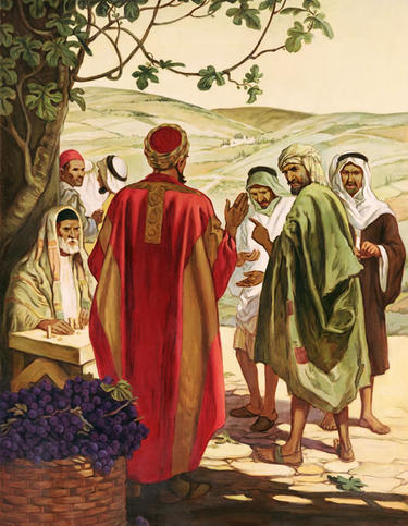 Parable of the generous landowner: this is what heaven is like. We get a lot more reward than we deserve, and no distinction is accorded between those who are lifelong believers and those who came to the faith an hour ago. (Providence Lithograph Collection, goodsalt.com)