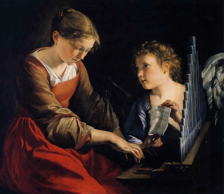 Orazio Gentileschi, c. 1621: St. Cecilia with the Angel. Her martyrdom is considered a historical fact, while the legends created about her are surely the product of myth-making. It's said that she was a nobleman's daughter who was forced to marry a nobleman named Valerian; during the wedding she sat apart singing to God in her heart. Afterward she told her husband that she had an angel on her shoulder guarding her virginity, who would punish him if he failed to respect her purity, but reward him if he did. Valerian wanted to see this angel for himself. She told him to go to a certain place and get baptized; when he did, he could see the angel too.