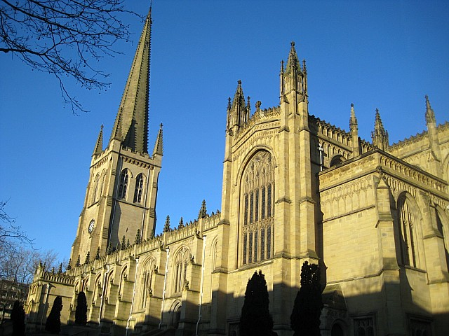 All Saints' Cathedral, Wakefield, West Yorkshire, one of three cathedrals in the Diocese of Leeds. A church has been there since Anglo-Saxon times; this building dates from about 1329. (Mike Kirby)