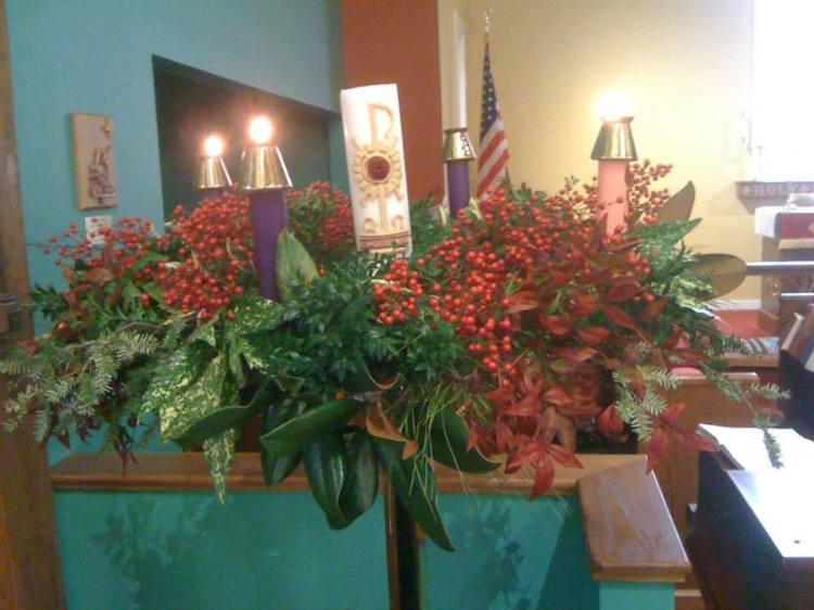 Advent wreath at St. Mary's, Jasper, Alabama, 2014. (Rebecca Nelson)