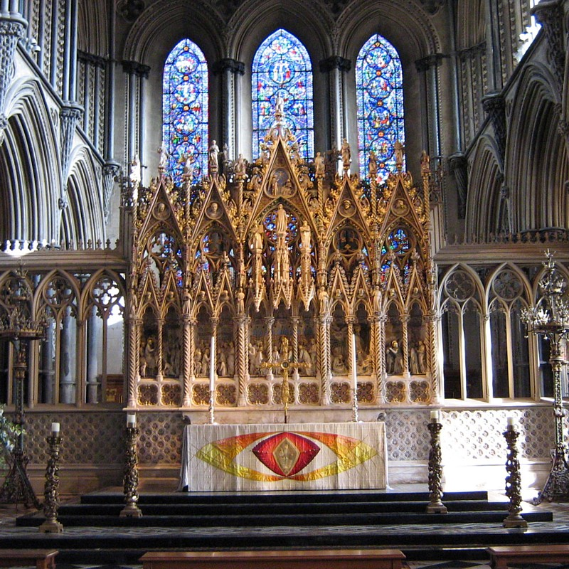 High altar and reredos at Ely Cathedral, England. (Wikipedia)