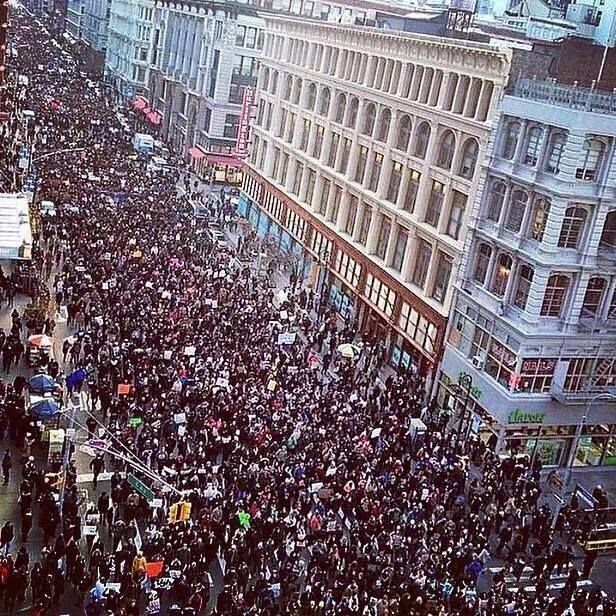 #MillionsMarch yesterday in New York City. It wasn't millions, but it really was big, and similar protests against police violence and economic inequality reportedly took place in a hundred U.S. cities. (Facebook)