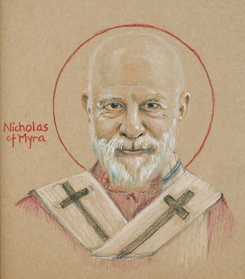 "The Rev. Tobias S. Haller, BSG, based on Nathanael Deward: St. Nicholas. He was born in Asia Minor, present-day Turkey, then part of the Roman Empire but Greek in culture. He was the only son of wealthy Christian parents and was very religious at an early age. Tonsured young and then ordained, he joined an early monastery where they lived in a few caves. After a few years he returned and was named Bishop of Myra. He attended the Council of Nicaea, was strongly against Arianism, and signed the Creed. After his death he was greatly esteemed for his intercessory power, and began to be called Nicholas the Wonderworker. Further legends grew, he was endowed with a penchant for secret gift-giving, and once he hit the Capitalist Paradise he turned into Santa Claus, made countless public appearances and scores of motion pictures, though after a century of cinema he has only won the Academy Award once – as Edmund Gwenn in ""Miracle on 34th Street."""