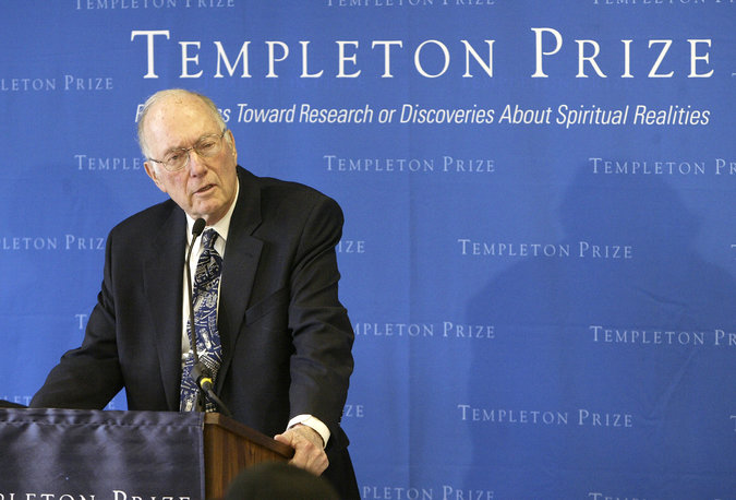 American physicist and Nobel Prize-winner Dr. Charles W. Townes has died, inventor of a machine that produced the laser, that beam of light that's now ubiquitous from surgical theaters to grocery store checkout lanes. Above, he's seen accepting the John Templeton Prize in 2005 for his work on the congruities between science and religion; he was a self-described Protestant. He didn't get rich from his discovery of lasers; as often happens, the entrepreneurs who applied his findings did. (Gregory Bull/Associated Press)
