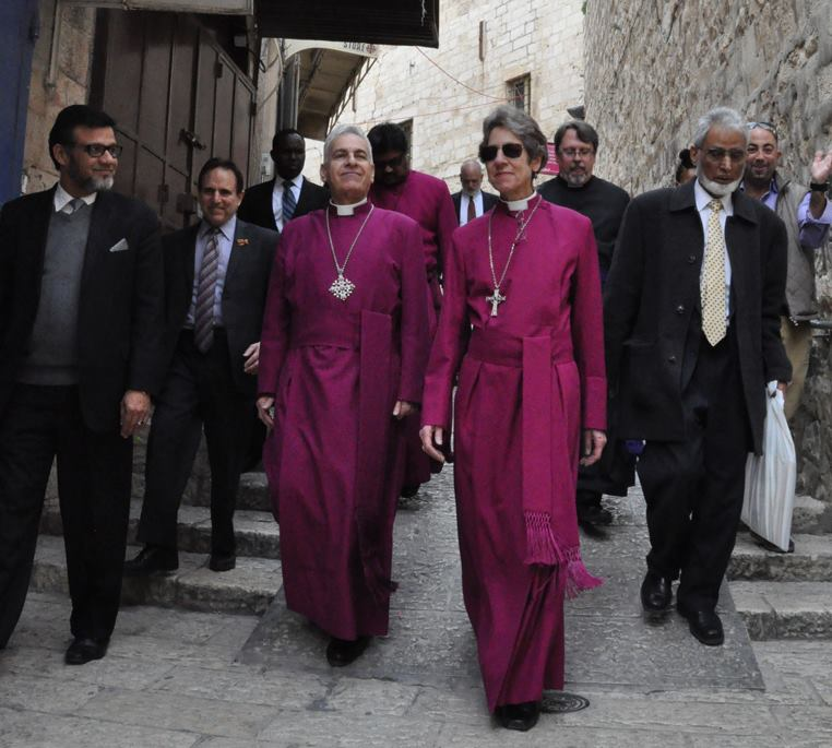 Presiding Bishop Katharine Jefferts Schori led an interfaith pilgrimage to Jerusalem last week with U.S. Jewish and Muslim leaders, meeting with former Israeli prime minister Shimon Peres and current Palestinian Prime Minister Rami Hamdallah. She preached at St. George's Cathedral on Sunday. (Matthew Davies/Episcopal News Service)