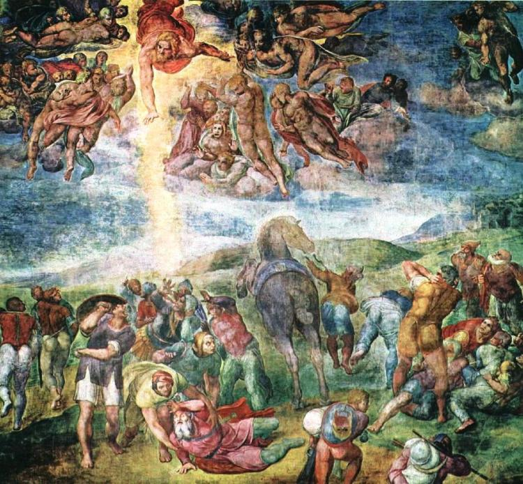 Michelangelo, 1542: Conversion of St. Paul. A skittish horse sends everybody reeling, while God the Father flies overhead sending out a blinding bolt of light.