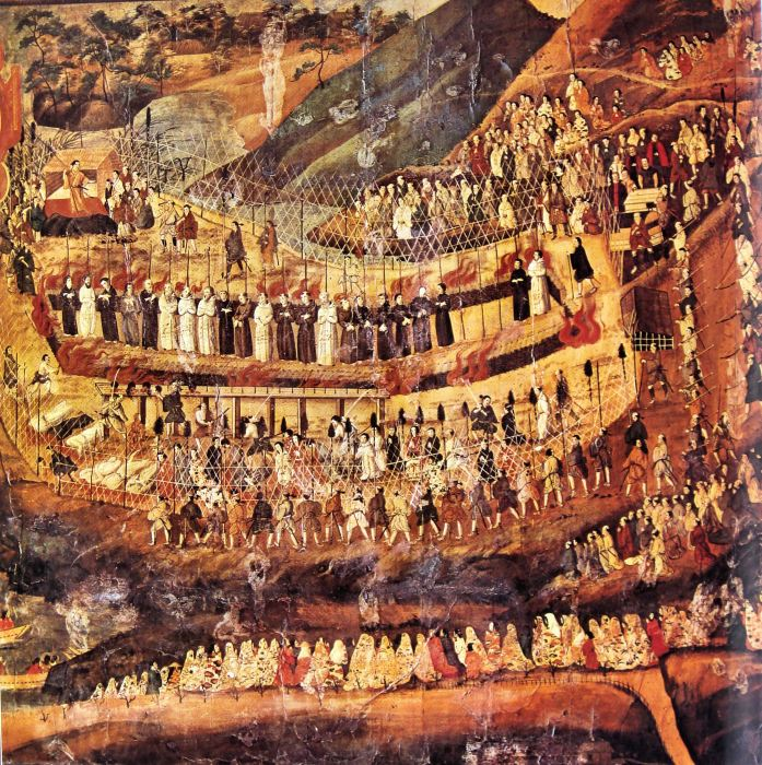 The 26 Martyrs of Nagasaki, Japan, a 17th century painting by an unknown Japanese artist. The first group of Japanese martyrs in 1597 were Jesuits, led by Francis Xavier, and Franciscans, whose missionary efforts obtained about 300,000 believers before the shoguns began to crush the Japanese Church; other martyrdoms followed. The two Roman Catholic orders rivaled each other for dominance, and the authorities came to believe that Europeans sent missionaries as a prelude to military control, citing events in the Philippines as an example. The Church was mostly extinguished, but a remnant of the faithful remained and were discovered 250 years later, though they had no priests or Scriptures. (Wikipedia)