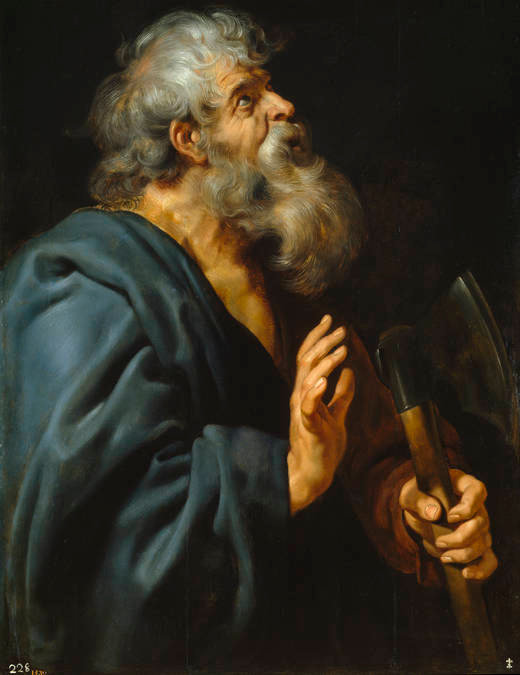 Peter Paul Rubens: St. Matthias. The eleven surviving apostles nominated him along with Joseph Barsabbas, then cast lots – pebbles or sticks tossed from a container, then interpreted as a sign of God's preference – as described in Acts 1:23. Matthias took his place among the apostles before Pentecost, after which nothing further is definitely known about him.