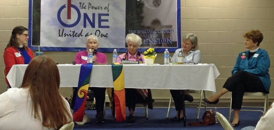 The Revs. Alison Cheek, second from left, and Carter Heyward, center, two of the Philadelphia Eleven, who were the first women ordained Episcopal priests in 1974, recalled the tumult and the aftermath at a 40th anniversary symposium April 11 sponsored by Episcopal Church Women of the Diocese of Eastern Tennessee, meeting at Ascension, Knoxville. (The Rev. Paige Buchholz)