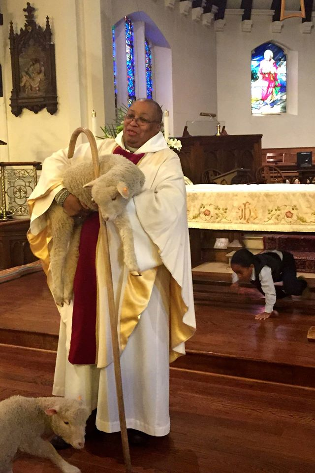 Good Shepherd Sunday at the Church of St. Andrew and Holy Communion in South Orange, New Jersey. Notice the kid crawling around under the altar. (The Rev. Sandye A. Wilson on Facebook)