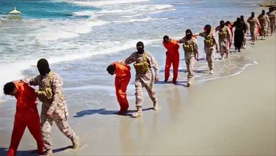 Ethiopian Christians paraded before their beheading by ISIS in Libya, according to a video released Sunday. (via Associated Press)