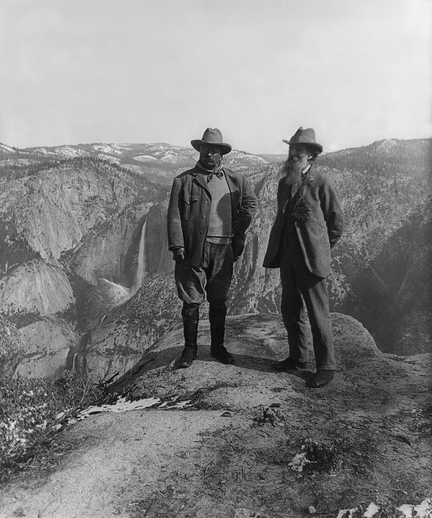 John Muir, a Scot who emigrated to America, with President Theodore Roosevelt at Glacier Point in Yosemite National Park, California, in 1906. Muir was a founder of the Sierra Club, the largest U.S. environmental group; he lobbied T.R., a rugged outdoorsman, to expand protection for Yosemite into a full-fledged national park. Today it's a World Heritage Site; at 1168 square miles, it's still 95% wilderness.