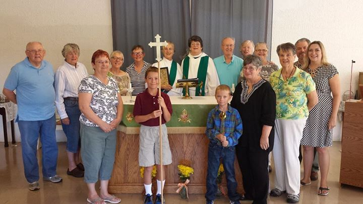 """Acolytes, clergy and members of St. Brigid's, Rio Vista, California, where the Rev. Lucretia Jevne is priest-in-charge and the Rev. Susan M. Reeve, one of our webcasters, serves as deacon. Susan is so proud of this little mission that if we failed to mention it today, we'd never hear the end of it. (Oh wait: """"It's in the Diocese of Northern California!"""")"""