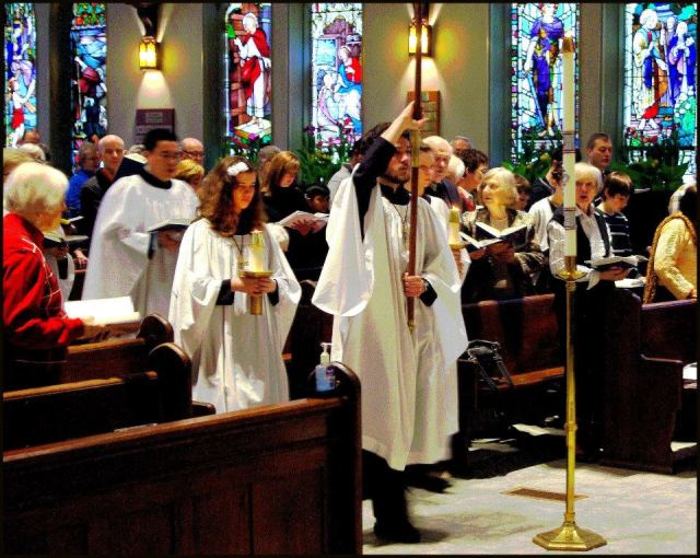 Easter procession 2015 at St. George's, London, Ontario; what beautiful windows. (Evan A)