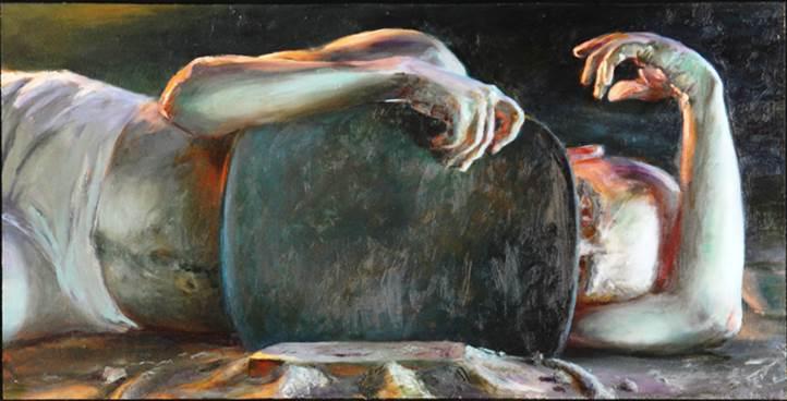 Ezekiel on his side; artist unknown. (924jeremiah.wordpress.com)
