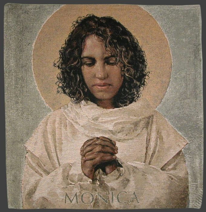 Monnica, a Berber from North Africa, is famous for badgering her son St. Augustine until he finally became a Christian; his classic book The Confessions is a testament to her. But she also succeeded in winning her husband, a Roman soldier, to Christ. These conversions partly mirrored her own change of life; over time, she went from being mostly interested in pleasure, wealth and power to having a richly spiritual life. (Bosco Peters' Liturgy blog)