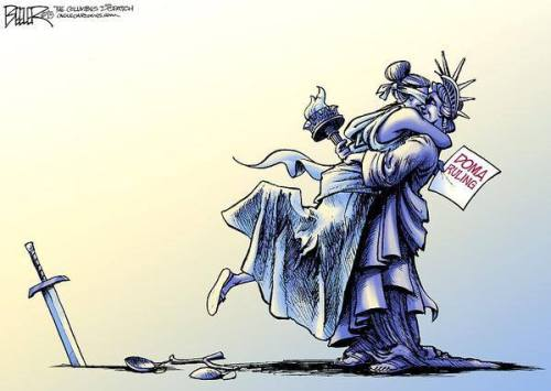 Nate Beeler/The Columbus Dispatch, 2013: Lady Justice Embraces Lady Liberty