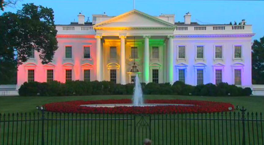 Rainbow White House on the 46th anniversary of the Stonewall Riots.