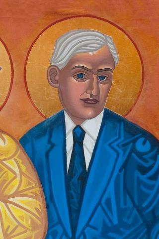 "Mark Dukes: Roland Allen icon, one of the ""dancing saints"" at St. Gregory of Nyssa, San Francisco, by Mark Dukes. Here's how Dukes' All Saints Company summarizes Allen's career: ""Anglican missionary in East Africa who became a controversial, prophetic challenger of the existing order, seeking to change drastically the paternalistic colonial system of mission governance. He wanted to restore the pattern he saw in the Apostle Paul's missionary work: preaching the Good News, quickly raising up local leadership, trusting them with power, and moving on."""