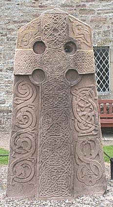 A carved Pictish stone, circa 800, at Aberlemno Kirkyard, Scotland. The Picts loved to erect these carved steles with their mysterious symbols; a few survive from the period before Columba's arrival and lack the Celtic cross. But they didn't stop building them once the country became Christianized. (Wikipedia)