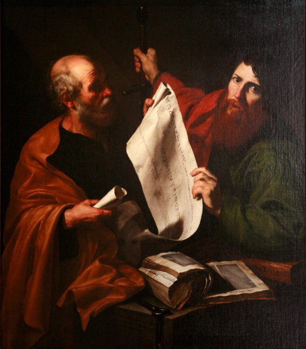 Jusepe de Ribera: St. Peter and St. Paul. Peter is usually portrayed as the older one.