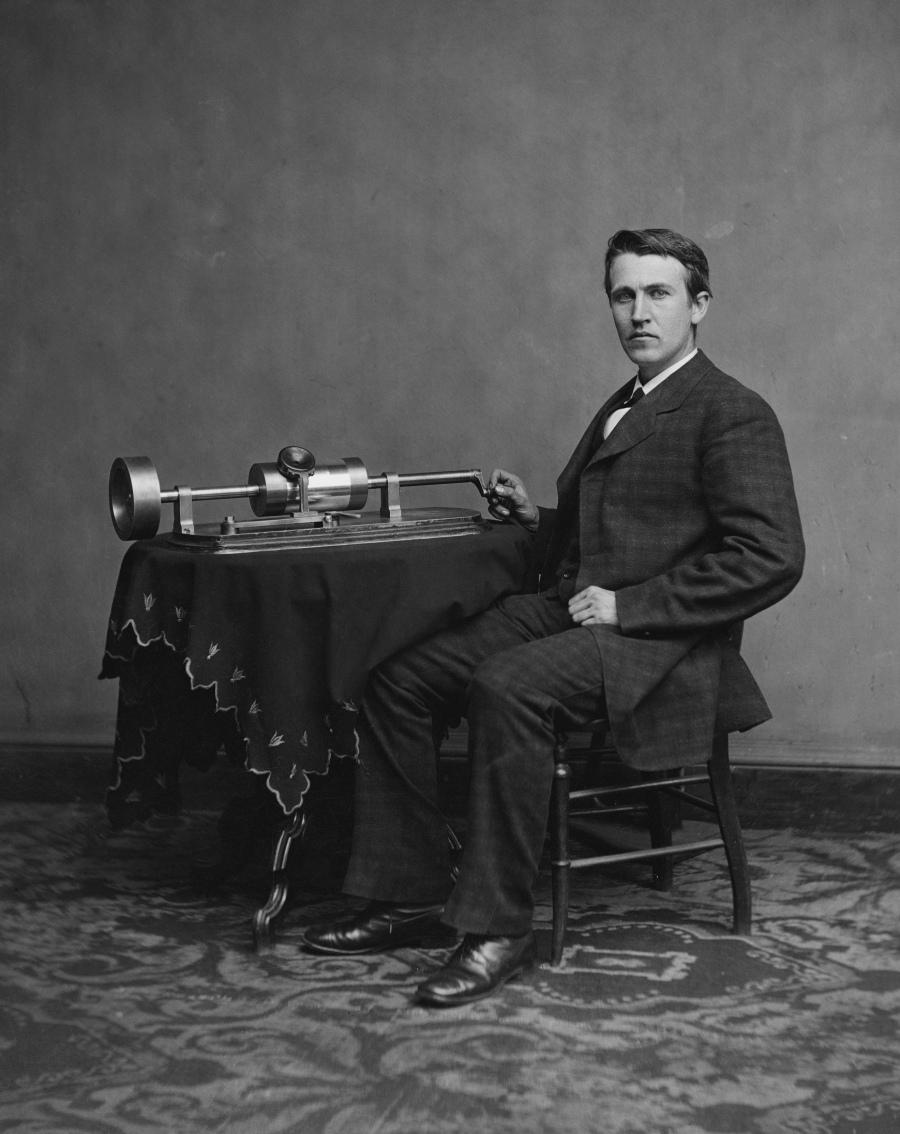 Matthew Brady Studio, 1878: Thomas Edison and his second phonograph.