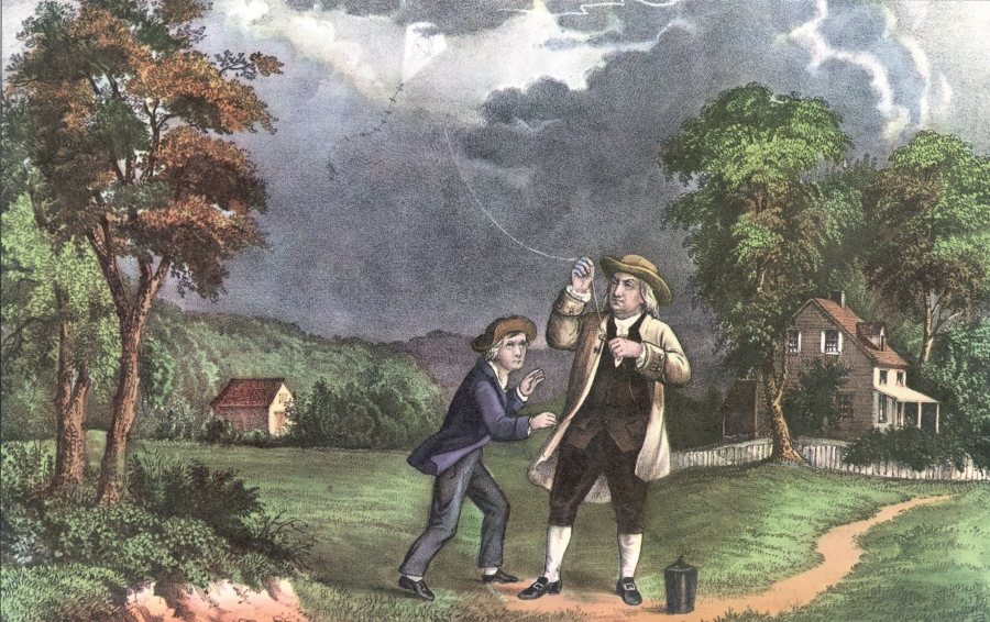 A Currier and Ives lithograph of Benjamin Franklin and his son William using a kite and key during a storm to prove that lightning was electricity, June 1752. (Photo by Hulton Archive/Getty Images)