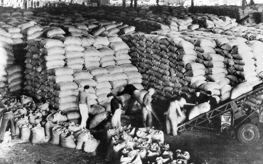 Shipment of goods to rebuild Europe under the Marshall Plan, 1949. European nations selected the projects and did the work, using materials and money from the United States.