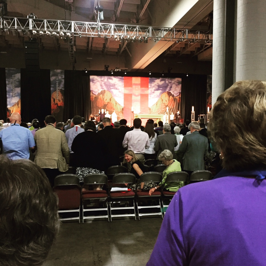 Thousands gathered for the opening Eucharist at General Convention last week; the wall hangings and backdrop up front showed scenes of the mountains of Utah. The convention ends today. (Hailey McKeefry Delmas)