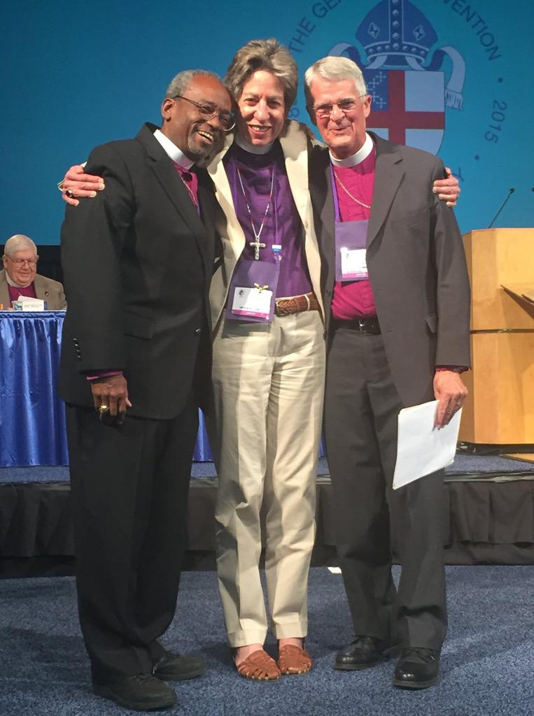Three Presiding Bishops of The Episcopal Church: Michael Curry, soon to be the 27th; Katharine Jefferts Schori, the 26th; and Frank Griswold, the 25th. +Katharine, retiring in November, seemed to have a good time at General Convention; relaxed, smiling, gracious, with controversy and responsibility all but behind her, free to enjoy herself after almost nine years. (Broderick Greer)