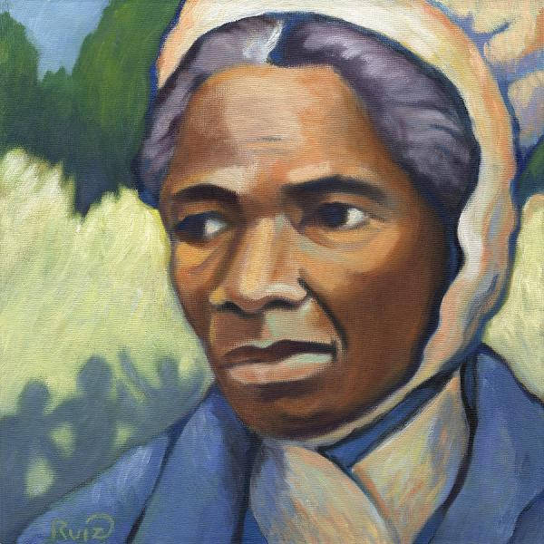 "Sojourner Truth fled slavery with the help of Quaker friends, and in middle age became a traveling preacher of uncommon power. She was illiterate but had much of the Bible committed to memory. At a women's rights convention in Ohio, she was treated differently than white women by the proto-feminists, and pointedly asked, ""Ain't I a woman?"" (Linda Ruiz-Lozito)"
