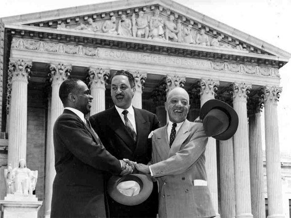 Thurgood Marshall, center, celebrating a win at the Supreme Court: Americans have a right to equal justice under the law. (source unknown)
