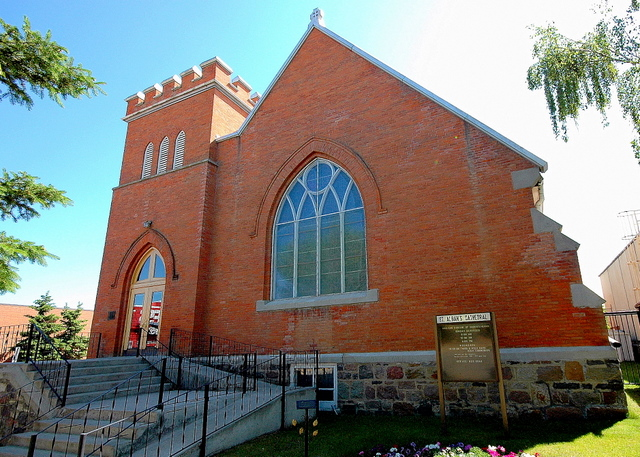 St. Alban's Cathedral, Prince Albert, Saskatchewan; there are few priests in the diocese, and most of them are non-stipediary; over 100 lay readers also serve. The extra-geographic Indigenous Ministries project is likely to become its own diocese in a few years. (glasscloud.ca)