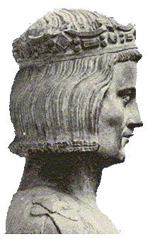 A 14th century bust, considered true to life, of St. Louis at the church in Mainneville, France. He became king at age 12, took power in early adulthood, banned gambling, blasphemy, usury and prostitution; reformed the legal code, abolishing trial by ordeal; bought relics of Christ and built the world-famous Saint-Chapelle as a shrine to house them in glory. He was also anti-Semitic. (Wikipedia)