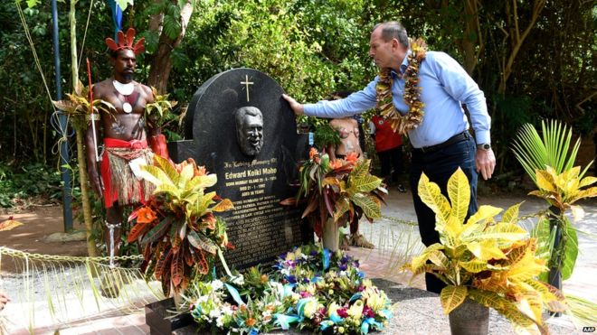 Tony Abbott, the Prime Minister of Australia, visited the grave of Aboriginal land rights activist Eddie Kolki Mabo recently, acknowledging his role as plaintiff in a landmark court case that overturned the legal fiction that nobody owned Australia when the white people got there, so they were free to take whatever they wanted. (AAP)
