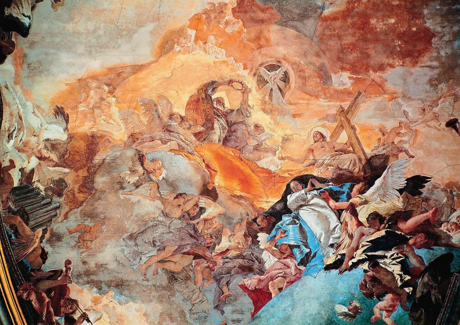Tiepolo, c. 1753: The Triumph of Faith, ceiling fresco at the Church of Santa Maria della Pietà, Venice.