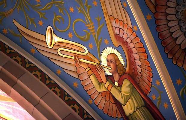 Angel with a trumpet at Sacred Heart Church, Indianapolis. (Frank Espich/The Indianapolis Star)