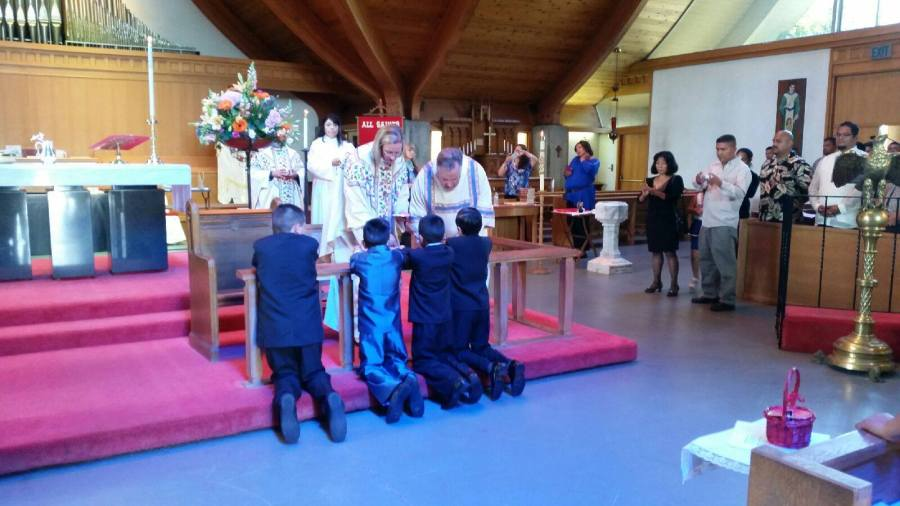 Children were presented for First Communion two Sundays ago at Iglesia Cristo Rey/All Saints', Watsonville, California, with girls in long white dresses on one side of the altar rail and boys in suits on the other. Bishop Mary Gray-Reeves of the Diocese of El Camino Real confirmed six people and the Rev. Michael Dresbach, Priest-in-Charge, baptized another four. So much was going on that afterward everyone stayed for lunch! (parish website)