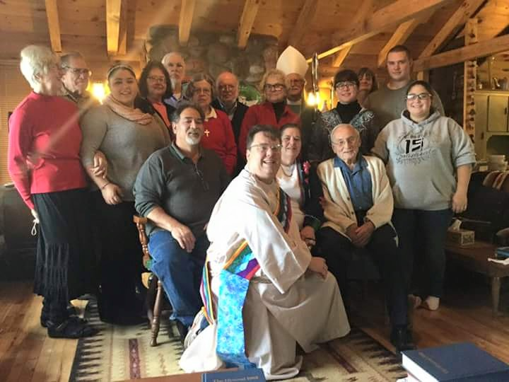 The Bishop of Northern Michigan, Rayford Ray, visited Holy Innocents', Little Lake, yesterday; it's a small but growing house church; our webcasters Mother Gwen and Father Jim are on the clergy team. (parish photo on Facebook)