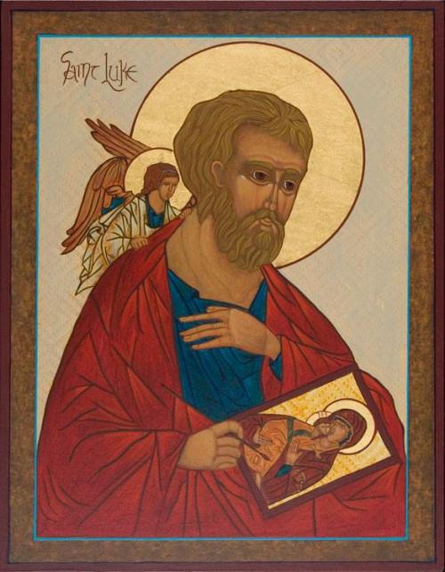 St. Luke was a physician and may have been an artist; a tradition from the 8th century says that he was the first iconographer and that he painted the Virgin and Child, as well as St. Peter and St. Paul. The icon above, by an unknown artist, reflects this tradition; it's Luke's Gospel which recounts the Nativity.