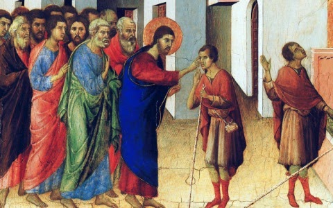 """Jesus heals the blind men; artist unknown. To this day most Christians don't get that we are the blind ones - not those poor unfortunates """"over there."""""""