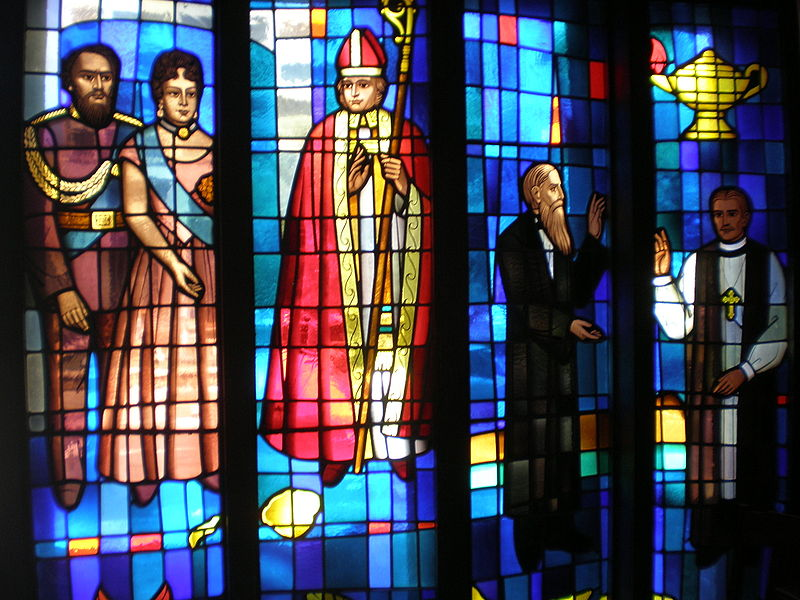 Kamehameha and Emma window, left, at the Cathedral of St. Andrew, Honolulu, which they founded. On the right is Sanford B. Dole, son of a missionary from New England, who became an enemy of the monarchy and helped engineer its overthrow, one of the great injustices of U.S. history. Many of the missionaries became more interested in exploiting their position and making money than in saving souls. (cathedral photo)