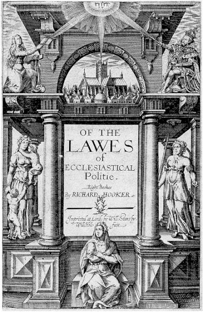 "Richard Hooker's  ""Laws of Ecclesiastical Polity,"" which developed a theology of the Elizabethan Settlement, Anglicanism's Middle Way between Catholicism and Protestantism. He defended the English Prayer Book against Puritan attacks; though he was something of a Calvinist himself, he weakened Calvin's doctrine of predestination by analyzing truth-claims three ways: using Scripture, the Protestants' strong point, Tradition as bequeathed by the Catholic Church, and Reason to mediate between the two. In time this became a consensus position of Anglicanism – though not without a Civil War between extremists on the opposing sides. (Wikipedia)"