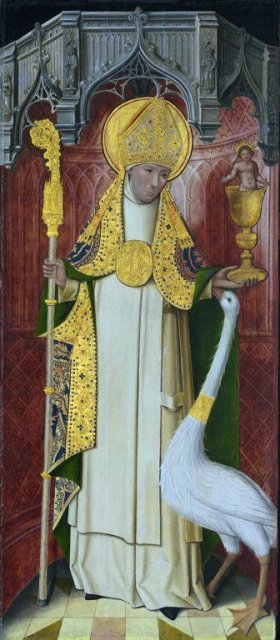 St. Hugh and the Swan, which followed him around everywhere he went. Hugh grew up in the Grande Chartreuse monastery in France, motherhouse of the Carthusians, and was brought to England by Henry II to lead a Carthusian house as part of the king's campaign of atonement for the murder of Thomas Becket. He built the Witham Charterhouse on a royal estate, and made the king compensate tenants who were displaced. Later he admonished the king about keeping bishoprics vacant so he could pocket their income. Henry finally convened a council to fill the vacancies and Hugh was elected Bishop of Lincoln, but he didn't trust the outcome and demanded that the cathedral chapter be able to elect their own bishop; they too picked Hugh. In office he was noted for protecting the sizable Jewish population from persecution at the beginning of Richard I's reign. (Altarpiece at St.-Honoré Charterhouse, Thuison, France)
