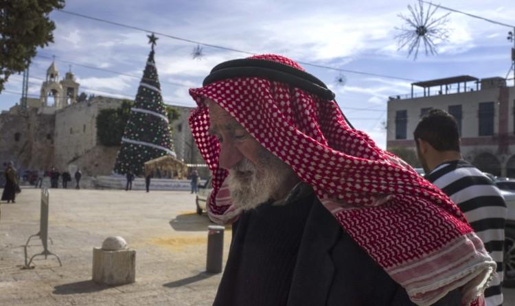 Manger Square in Bethlehem a few days ago: empty. (Jim Hollander/European Pressphoto Agency)