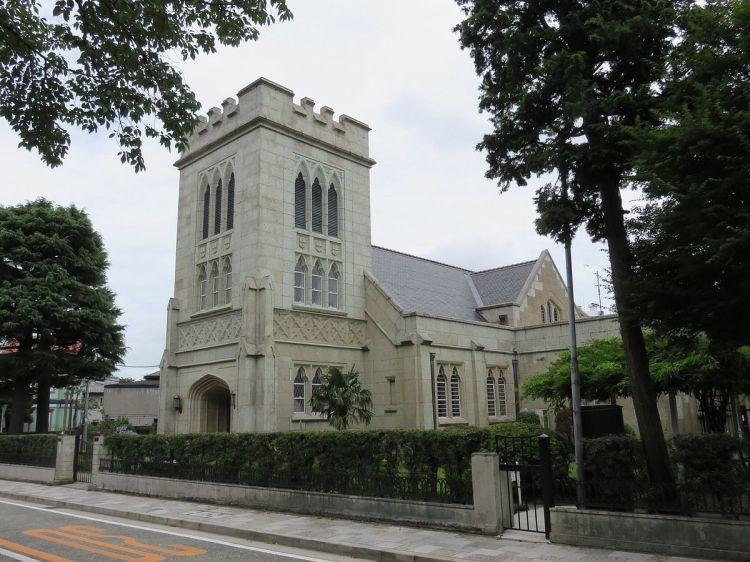 Christ Church, Yokohama, was founded in the Yamate district in 1863, shortly after the formal Opening of Japan. This building, designed by architect Jay Hill Morgan, dates from 1931 and was severely damaged in World War II. The parish serves both Japanese and English-speaking congregations. (Wikipedia)