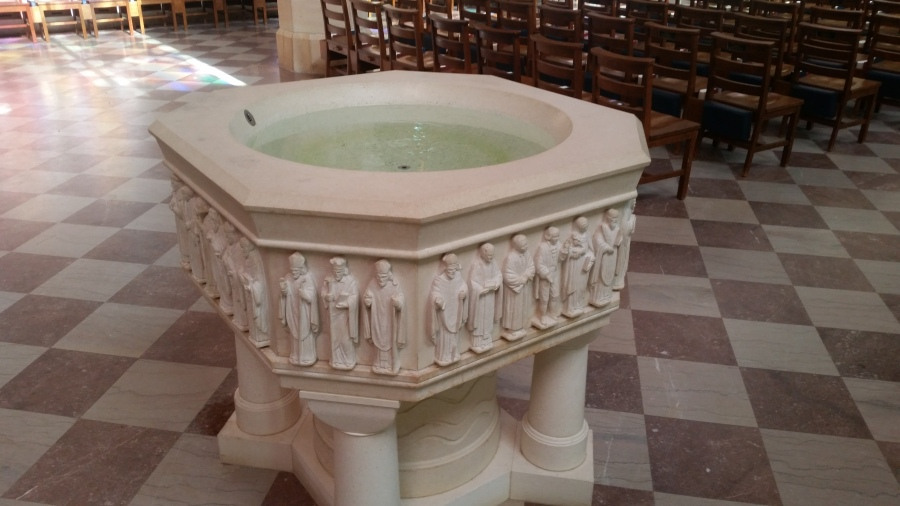 """All Saints' Chapel at Sewanee: The University of the South, Tennessee. They keep it filled at the entrance to the church; """"holy water's"""" purpose is to remind us of baptism. (Tom Welch)"""