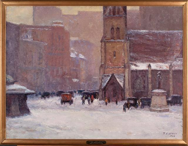 Christ Church Cathedral, Indianapolis, a hundred years ago, by the most renowned member of the Hoosier Group, Munich-trained impressionist T.C. Steele. He lived for awhile in a rented room on Monument Circle.