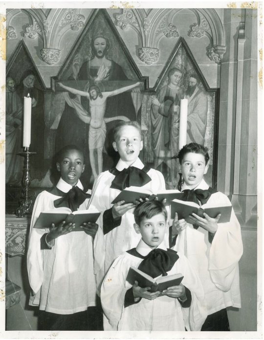 Midcentury choristers at Trinity Church, Wall Street, New York; these once-adorable boys are probably retired by now - but those were the days. (parish photo on Twitter)